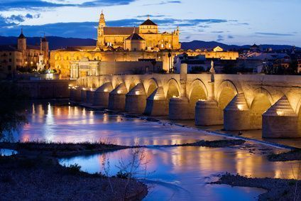 The mosque and the Roman bridge in Cordoba, Spain