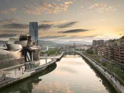 View of the estuary and the Guggenheim Museum in Bilbao, Spain