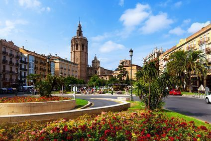 Plaza de la Reina and Torre Micalet in Valencia, Spain