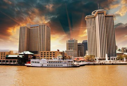 View of the Mississippi River in New Orleans, United States