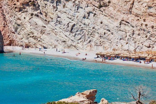 Beach of the island of Milos in Greece