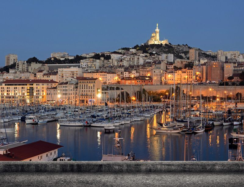 Marseille - Panoramique nocturne du port, France